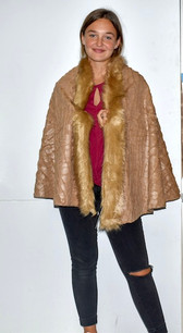 AA18-674 Tan Fur Trimmed Color Wrap