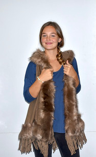 AA18-674 Dark Tan Fur Trimmed Color Wrap