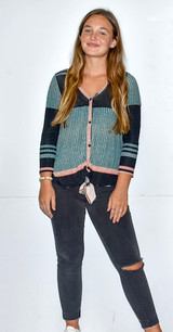 83803 Knot Front Striped Sweater
