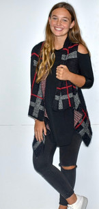 60510 Black/Red Plaid Vest