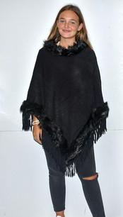 5986 Black Fur Trimmed Poncho w/ Tassels