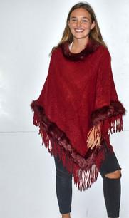 5986 Maroon Fur Trimmed Poncho w/ Tassels