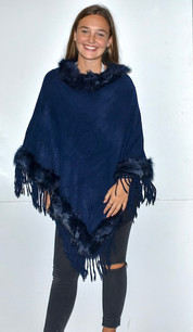 5986 Navy Fur Trimmed Poncho w/ Tassels
