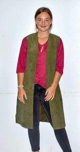 10555 Green Faux Fur Lined Long Vest
