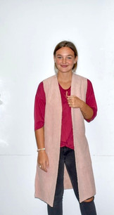 10555 Pink Faux Fur Lined Long Vest