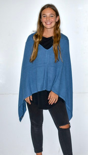 Blue Cashmere Poncho