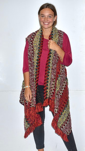 AZ001 Red Patterned Aztec Heavy Textured Sweater Vest