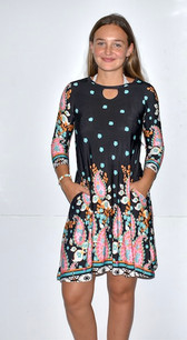 3618 Long Sleeved Print Dress w/ Pockets