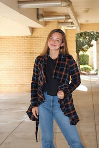10416 Navy Plaid Wrap Jacket