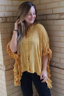 16952 Yellow Hi/Lo Oversized Ruffled Sleeve Shirt
