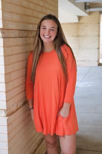 4032 Orange Three Quarter Length Sleeve Dress