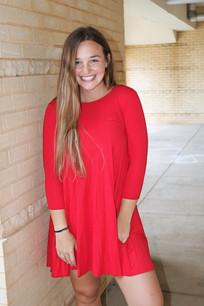 4032 Fuchsia Three Quarter Length Sleeve Dress
