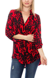 3288 Red/Black Damask Top