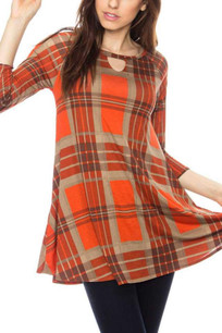 Burnt Orange/Gold Plaid Pocket Tunic Top