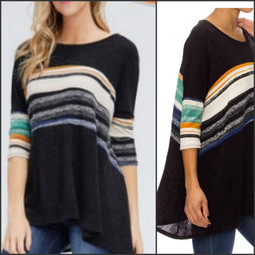 83234 Striped Sweater Poncho Top