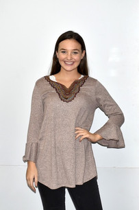 83845 Sage Embroidered Neck Top