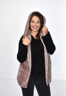 8773 Burgundy Sherpa Hooded Jacket