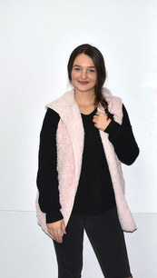 8773 Light Pink Sherpa Hooded Jacket