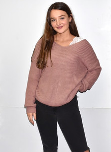 9324 Mauve Knot Back Sweater Top