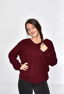 9324 Burgundy Knot Back Sweater Top