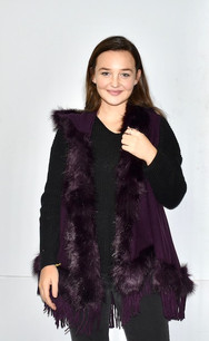 60162 Purple Faux Fur Sleeveless Vest w/ Hood