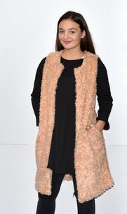 10421 Dusty Rose Fuzzy Long Vest