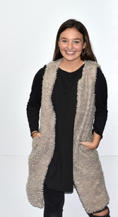 10421 Grey Fuzzy Long Vest