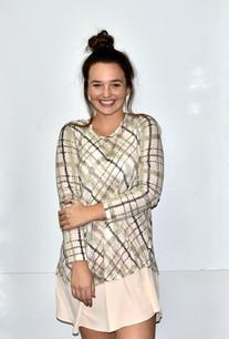 2247 Beige/Green Plaid Layered Tunic Dress