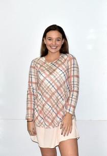 2247 Rust/Beige Plaid Layered Tunic Dress