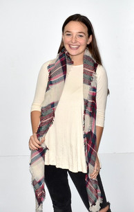 Taupe/Burgundy Blanket Scarf