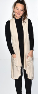 3887 Beige Solid Pocket Vest