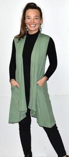 3887 Green Solid Pocket Vest