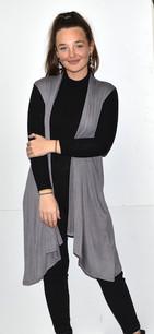 3887 Dark Grey Solid Pocket Vest