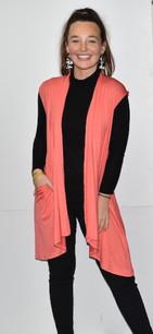 3887 Pink Solid Pocket Vest