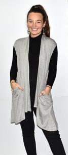 3887 Light Grey Solid Pocket Vest