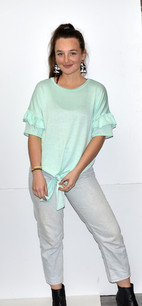 3902 Light Green Knot Front Top