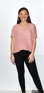 263 Rose Pink Overlap Front Short Sleeved Top