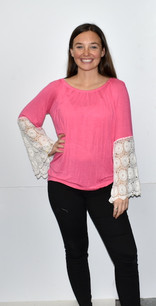 2194 Pink Bubble Gum Lace Trimmed Top