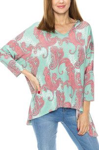 3898 Green Paisley Oversized Top