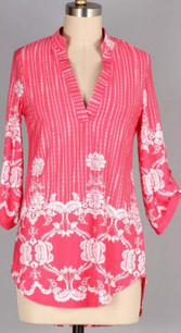 3288 Candy Pink Collar Border Print Top
