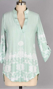 3288 Mint Collar Border Print Top
