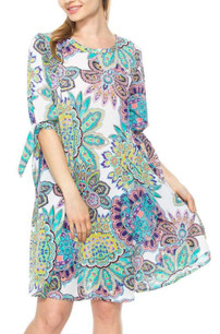3849 Floral Tie Sleeved Pocket Tunic Dress