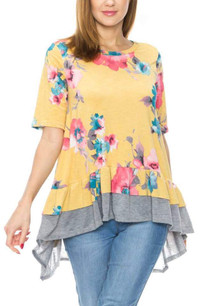 3909 Yellow Contrast Trimmed Floral Short Sleeved Top