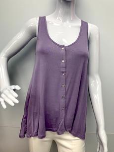 811 Lavender Button Down Side Slit Tank Top