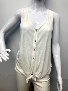 809 Beige Buttoned Top