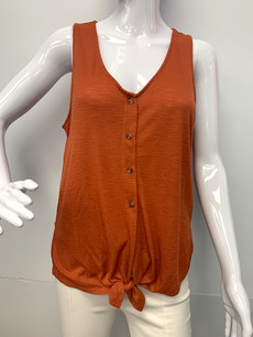 809 Rust Buttoned Top