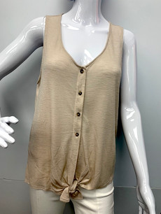 809 Tan Buttoned Top