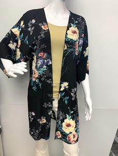 16722 Black Printed Floral Print Kimono