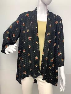 4086 Black Floral Kimono