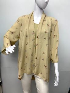 4086 Taupe Floral Kimono